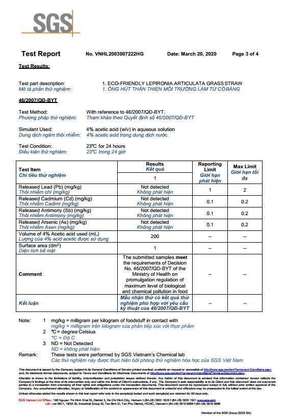 Kiểm nghiệm ống hút cỏ bàng xuất khẩu ecofriendly.vn +84703010693