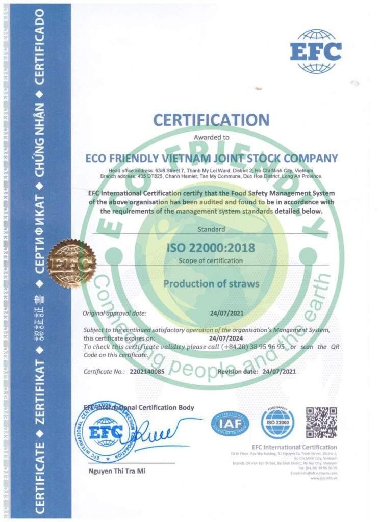 Xưởng sản xuất ống hút cỏ bàng đạt chứng nhận Iso 22000 0703010693