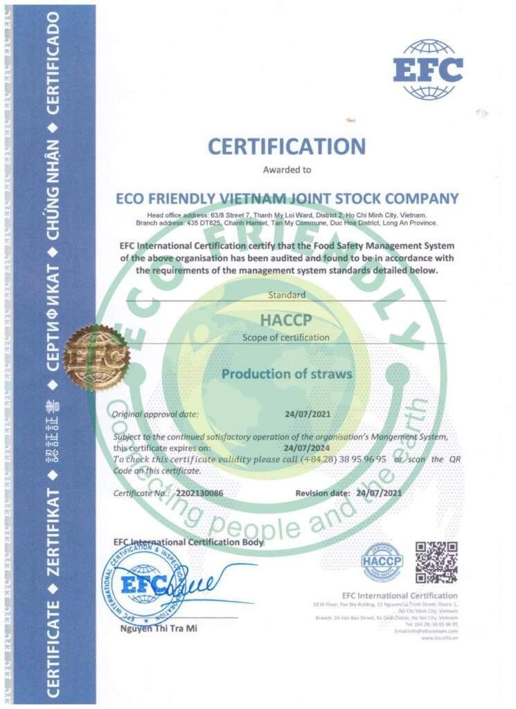 Xưởng sản xuất ống hút cỏ bàng đạt chứng nhận HACCP 0703010693